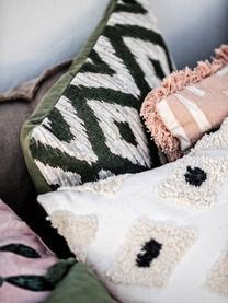 Cuscino con frange e imbottitura Ayana, Rivestimento: 100% cotone, Terracotta, crema, Larg. 45 x Lung. 45 cm