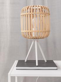 Tripod Tischlampe Adam aus Bambus, Lampenschirm: Bambus, Lampenfuß: Metall, pulverbeschichtet, Weiß, Beige, Ø 21 x H 42 cm