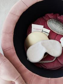 Fluwelen poef Chiara met opbergruimte, Bekleding: fluweel (polyester), Frame: eucalyptushout, Roze, Ø 50 x H 40 cm