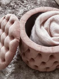 Pouf contenitore in velluto Chiara, Rivestimento: velluto (poliestere) Con , Rosa, Ø 50 x Alt. 42 cm