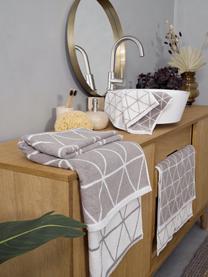 Lot de serviettes de bain réversibles Elina, 3élém., Gris, blanc crème