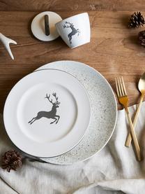 Ręcznie malowany talerz duży Gourmet Grauer Hirsch, Ceramika, Szary, biały, Ø 27 cm