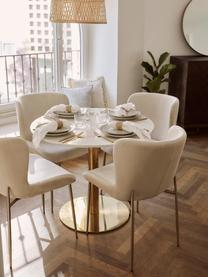 Runder Esstisch Karla in Marmoroptik, Tischplatte: Mitteldichte Holzfaserpla, Tischplatte: Weiß, marmoriert Tischbein: Goldfarben, matt, ∅ 90 x H 75 cm