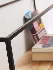 Wandregal Elisha aus Holz und Metall, Gestell: Metall, lackiert, Schwarz, Braun, 90 x 30 cm