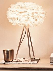 Große Tripod Tischlampe Eos aus Federn, Lampenschirm: Gänsefedern, Lampenfuß: Aluminium, pulverbeschich, Weiß, Ø 35 x H 56 cm