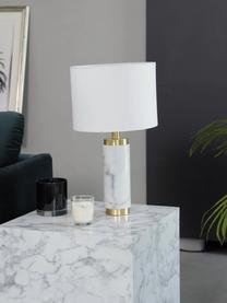 Lampada da tavolo con base in marmo Miranda, Paralume: tessuto, Base della lampada: marmo, ottone spazzolato, Bianco, ottonato, Ø 28 x Alt. 48 cm