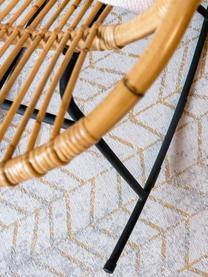 Tapis gris doré à poils ras J. Ladder, Tons gris, blanc cassé, couleur dorée