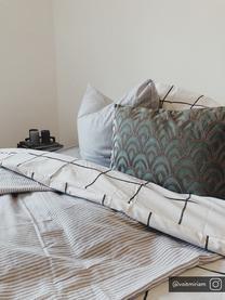 Haftowana poduszka z aksamitu  z wypełnieniem Trole, 100% aksamit (poliester), Zielony, odcienie srebrnego, S 40 x D 60 cm