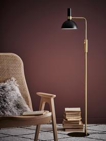 Lampka do czytania z metalu z funkcją przyciemniania Larry, Stelaż: mosiądz, Czarny, mosiądz, S 33 x W 146 cm
