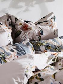 Pościel z satyny bawełnianej Flori, Przód: beżowy, kremowobiały Tył: beżowy, 240 x 220 cm
