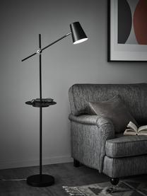 Leselampe Linear mit Ablage und Ladestation, Lampenschirm: Metall, beschichtet, Lampenfuß: Metall, beschichtet, Dekor: Stahl, gebürstet, Schwarz, 28 x 144 cm