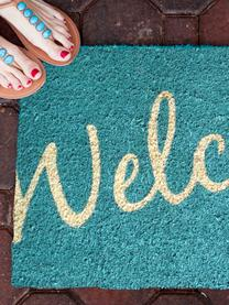 Paillasson Welcome, Turquoise intense, beige