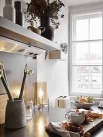 Kleine Tischlampe Laurel aus farbigem Glas, Lampenschirm: Glas, Lampenfuß: Metall, gebürstet, Lampenschirm: BernsteinfarbenLampenfuß: MessingfarbenKabel: Transparent, Ø 14 x H 28 cm