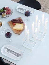 Kerzenhalter Kubus, stahl, lackiert, Weiss, 14 x 20 cm