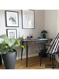 Wekker Waldo, Frame: gelakt aluminum, Messingkleurig, zwart, 12 x 12 cm