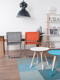 Chaise cantilever en velours côtelé Kink, Orange, chrome