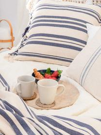 Couvre-lit pur coton à rayures Juarez, Couleur crème, bleu foncé