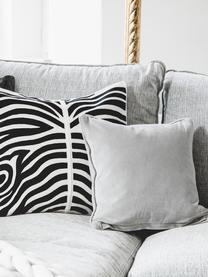 Federa arredo in velluto grigio chiaro Dana, 100% velluto di cotone, Grigio chiaro, Larg. 50 x Lung. 50 cm
