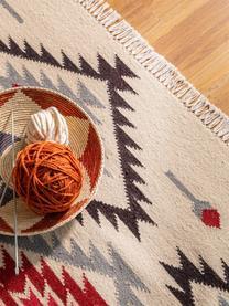 Handgeweven kelim vloerkleed Zohra Rose van wol, Bovenzijde: 90% wol, 10% katoen, Onderzijde: 100% wol Bij wollen vloer, Beige, grijs, zwart, rood, B 200 x L 300 cm (maat L)