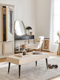 Sitzbank Beverly, Bezug: Polyester 50.000 Scheuert, Gestell: Eukalyptusholz, Beine: Metall, pulverbeschichtet, Cremefarben, 110 x 46 cm