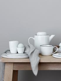 Ręcznie wykonany talerz duży Salt, 4 szt., Porcelana, Złamana biel, czarny, Ø 28 cm