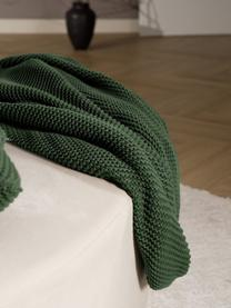 Strickdecke Adalyn aus Bio-Baumwolle in Dunkelgrün, 100% Bio-Baumwolle, GOTS-zertifiziert, Dunkelgrün, 150 x 200 cm