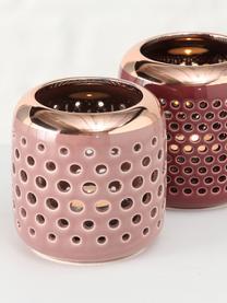 Teelichthalter-Set Faise, 2-tlg., Steingut, Rosa, Kupferfarben, Ø 10 x H 10 cm