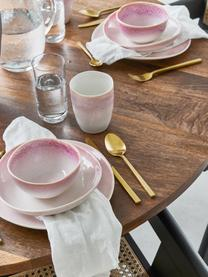 Handgemachte Speiseteller Amalia mit effektvoller Glasur, 2 Stück, Porzellan, Hellrosa, Cremeweiß, Ø 25 cm