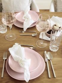 Piatto piano fatto a mano Amalia 2 pz, Porcellana, Rosa chiaro, bianco crema, Ø 25 cm