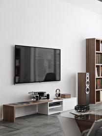 Mobile TV estraibile con anta scorrevole Lieke, Struttura e frontale: pannello di fibra a media, Legno di noce, bianco, Larg. 110 a 203 x Alt. 32 cm