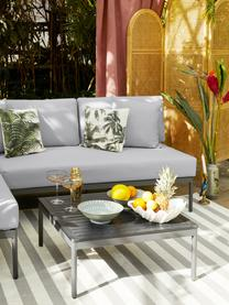 Tuin loungeset Linden, 2-delig in lichtgrijs, Bekleding: 100% polyester, Frame: gepoedercoat metaal, Tafelblad: hout-kunststof-compositie, Frame: gepoedercoat metaal, Grijs, Set met verschillende formaten