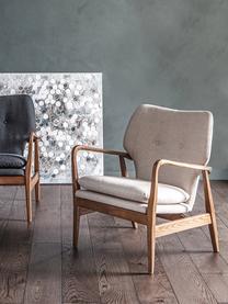 Sedia a poltrona in legno di quercia Jomlin, Rivestimento: lino, Struttura: legno di quercia, Grigio chiaro, Larg. 70 x Prof. 60 cm