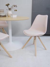 Stühle Max mit Kunstleder-Sitzfläche, 2 Stück, Sitzfläche: Kunstleder (Polyurethan), Sitzschale: Kunststoff, Beine: Buchenholz, Rosa, B 46 x T 54 cm