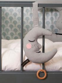 Handgefertigte Spieluhr Moon, Baumwolle, Öko-Tex- und OCS-zertifiziert, Grau, 18 x 19 cm