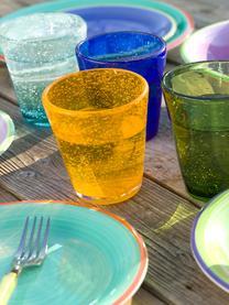 Mundgeblasene Wassergläser Cancun in Grün mit Lufteinschlüssen, 6 Stück, Glas, mundgeblasen, Grün, Ø 9 x H 10 cm