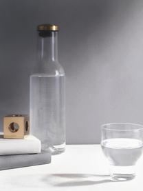 Karaffe Deluxe in Transparent mit goldenem Deckel, 1 L, Deckel: Metall, vermessingt, Transparent, H 29 cm