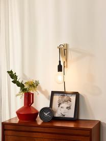 Wandleuchte Fix mit Stecker aus Holz, Schwarz, 3 x 23 cm