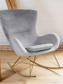 Sedia a dondolo in velluto grigio Wing, Rivestimento: velluto (poliestere) Con , Struttura: metallo zincato, Velluto grigio, Larg. 66 x Alt. 102 cm
