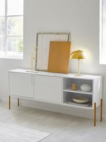 Dressoir Jesper met deuren in wit, Frame: MDF met melaminecoating, Poten: gelakt metaal, Frame: wit. Poten: glanzend goudkleurig, 160 x 80 cm