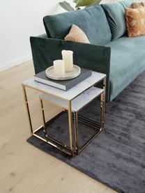 Set 2 tavolini con piano in vetro marmorizzato Aruba, Piani in vetro stampato: bianco opaco marmorizzato Strutture: dorato, Set in varie misure