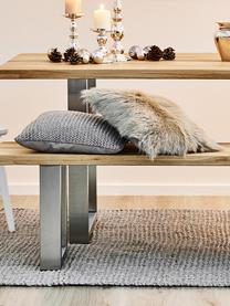 Sitzbank Oliver aus Eichenholz, Sitzfläche: Wildeichenlamellen, massi, Beine: Metall, lackiert, Wildeiche, 160 x 45 cm