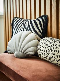 Poduszka z aksamitu Shell, Tapicerka: 100% aksamit poliestrowy, Jasny szary, S 28 x D 30 cm