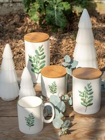 Tassen Eukalyptus mit Blatt-Motiv, 6 Stück, New Bone China, Weiß, Grün, Ø 8 cm