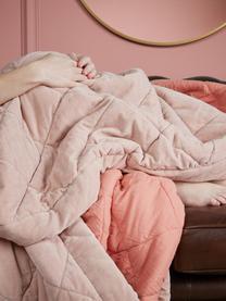 Gesteppte Samt-Tagesdecke Ogibly in Rosa, 100% Baumwolle, Hellrosa, Lachsfarben, B 180 x L 260 cm (für Betten bis 160 x 200)