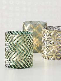 Teelichthalter-Set Shaggy, 3-tlg., Glas, lackiert, Grün, Ø 8 x H 9 cm