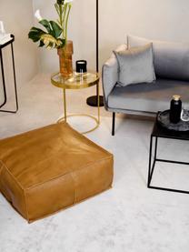 Leder-Bodenkissen Arabica in Braun, Bezug: Büffelleder, Nappa-Finish, Unterseite: Baumwolle, Cognac, 70 x 30 cm