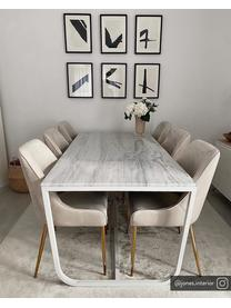 Fluwelen stoel Ava met goudkleurige poten, Bekleding: fluweel (100% polyester) , Poten: metaal, Fluweel beige, B 53 x D 60 cm