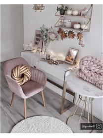 Krzesło tapicerowane z podłokietnikami z aksamitu Emilia, Tapicerka: poliester (aksamit), Nogi: drewno dębowe, olejowane , Aksamitny blady różowy, nogi: drewno dębowe, S 57 x G 59 cm