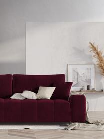 Divano letto 3 posti in velluto rosso Byron, Vino rosso, Larg. 250 x Prof. 105 cm