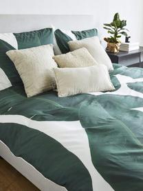 Dwustronna pościel z perkalu Avani, Zielony, kremowy, 135 x 200 cm + 1 poduszka 80 x 80 cm